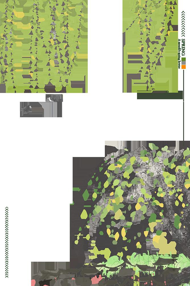 二十四节气之春分手绘春意柳树背