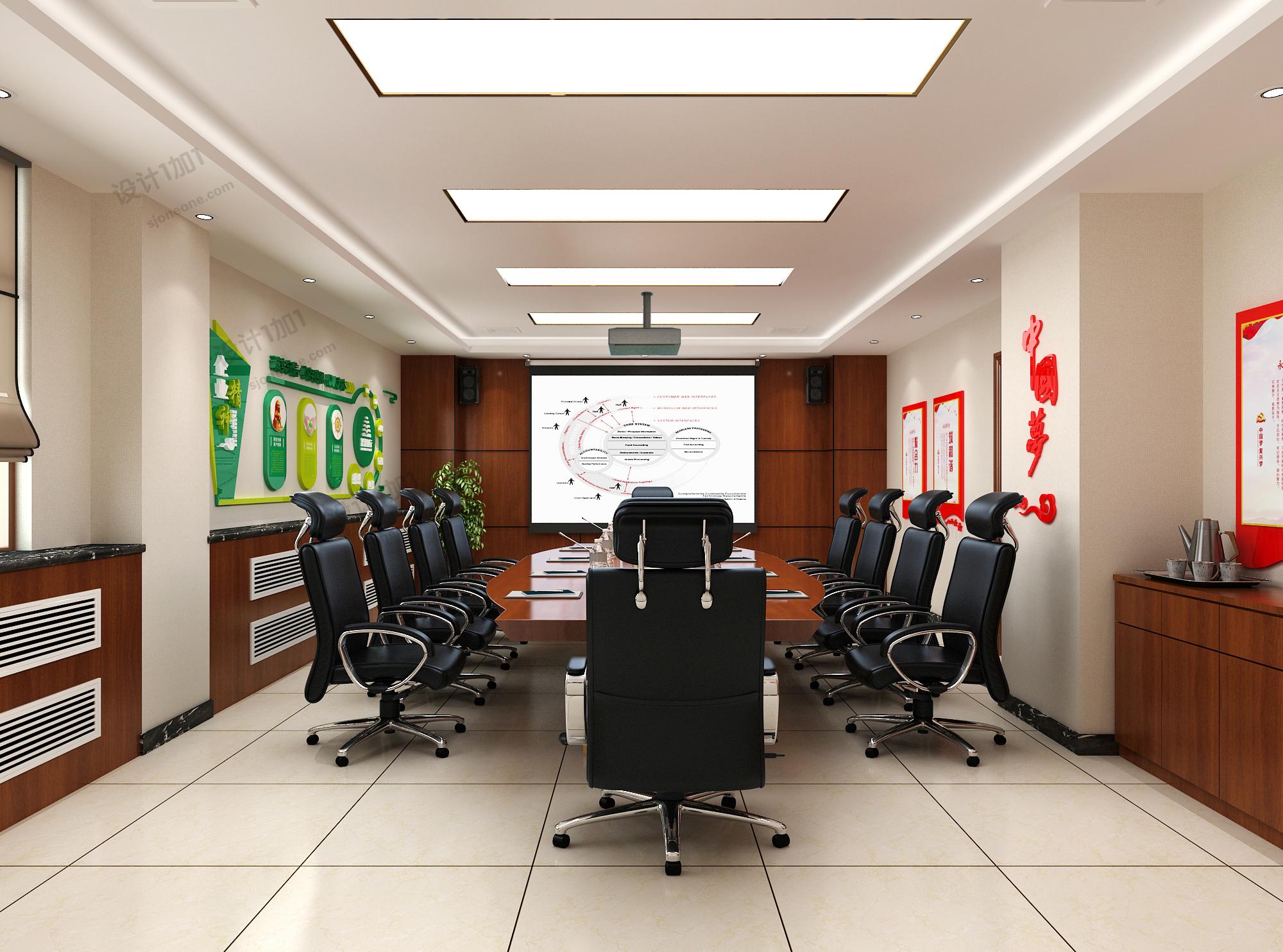 党建会议办公室文化墙室内