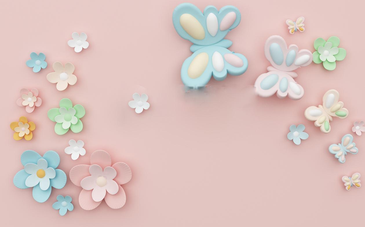 立体可爱花卉背景墙