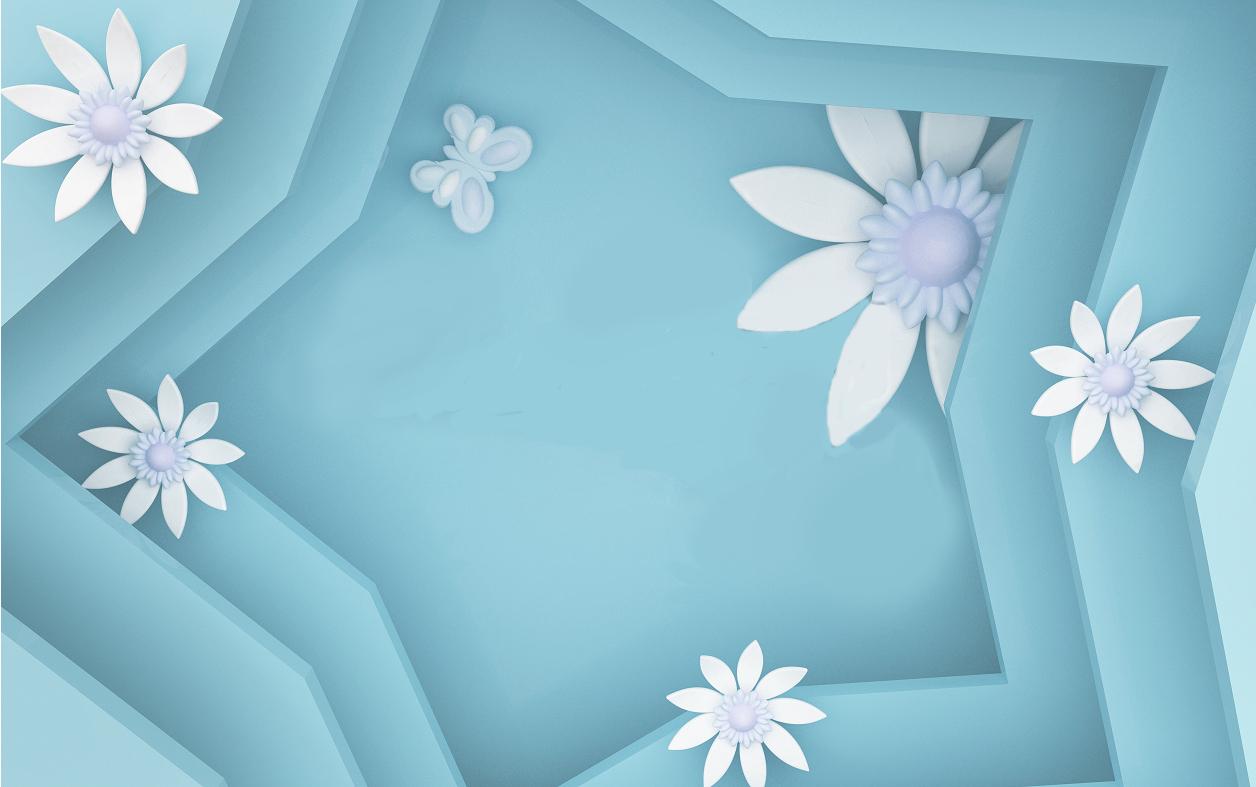 层叠几何星形花朵背景墙