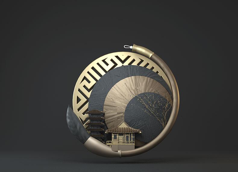新中式中秋节海报模型中国风古风立体C4D模型