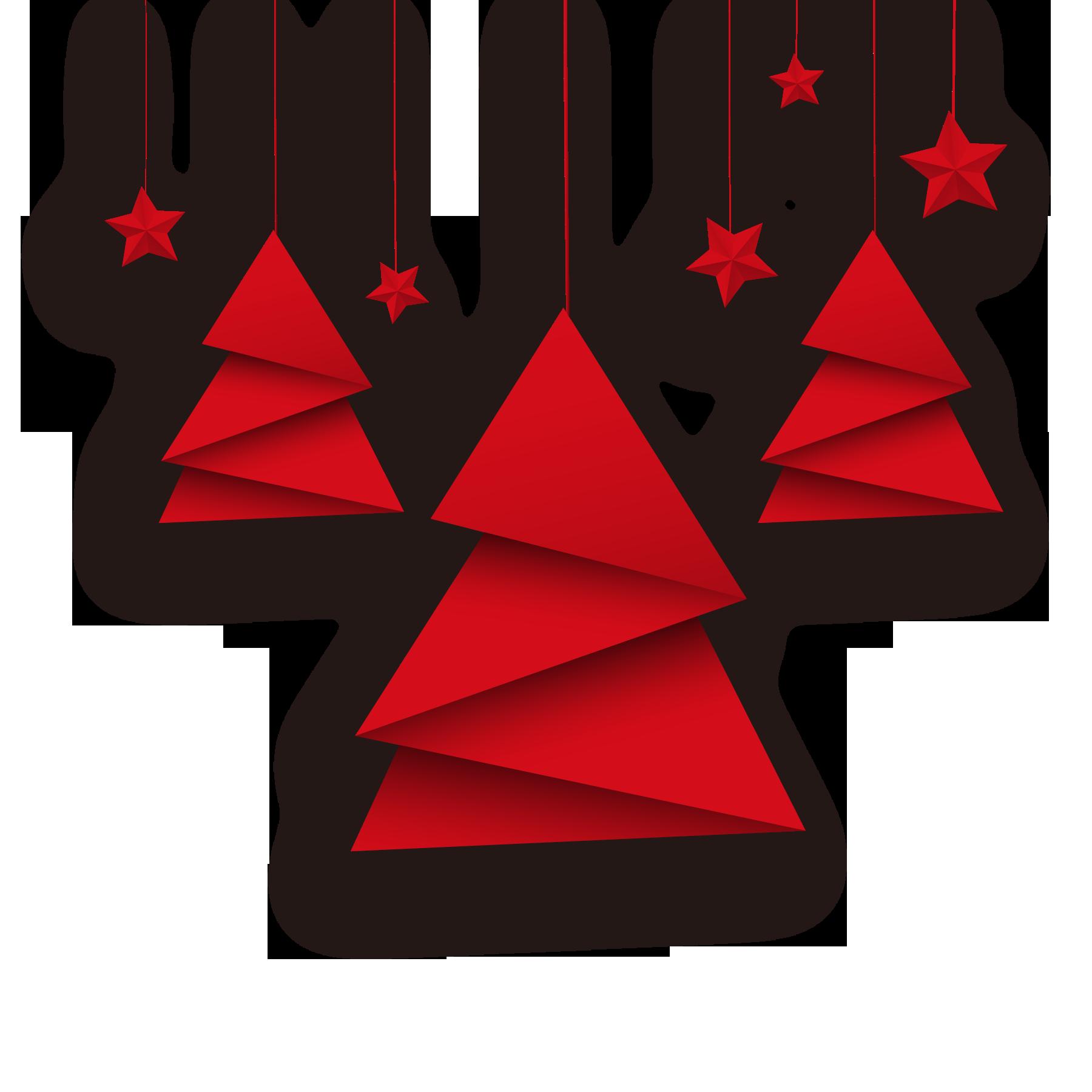 红色折纸圣诞树和星星免扣元素