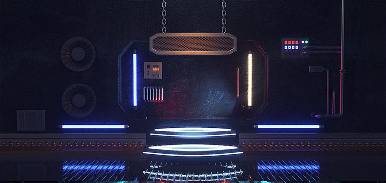 立体舞台场景科技背景炫酷空间电商C4D模型