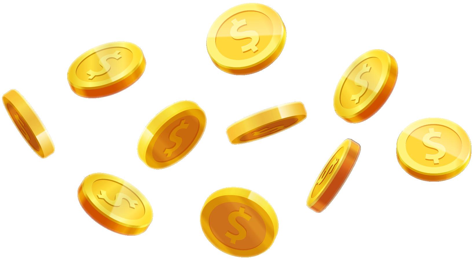 金色钱币漂浮元素