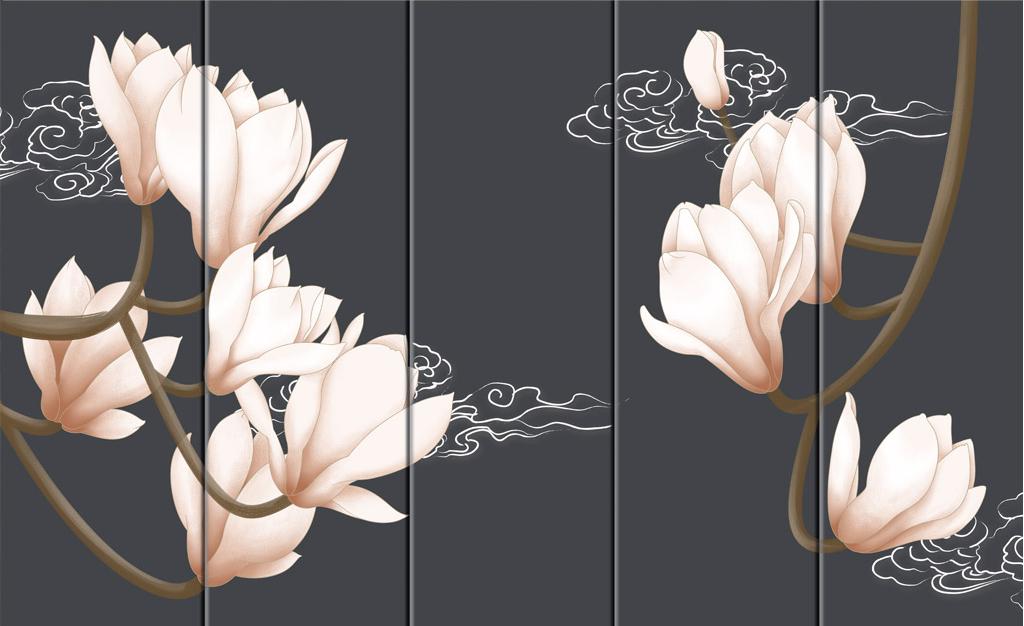 新中式简约水彩手绘电视背景墙