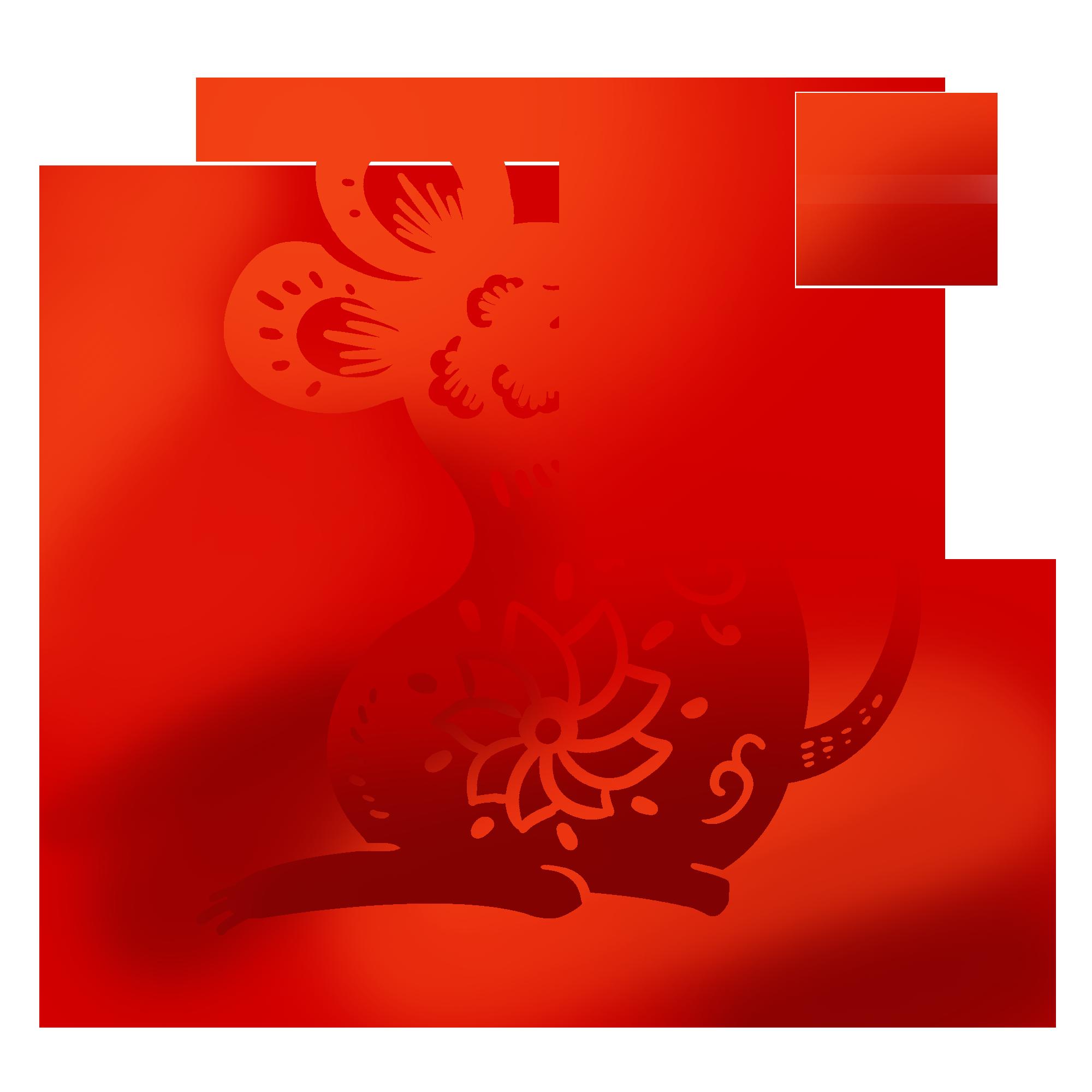鼠年剪纸老鼠插画免扣元素