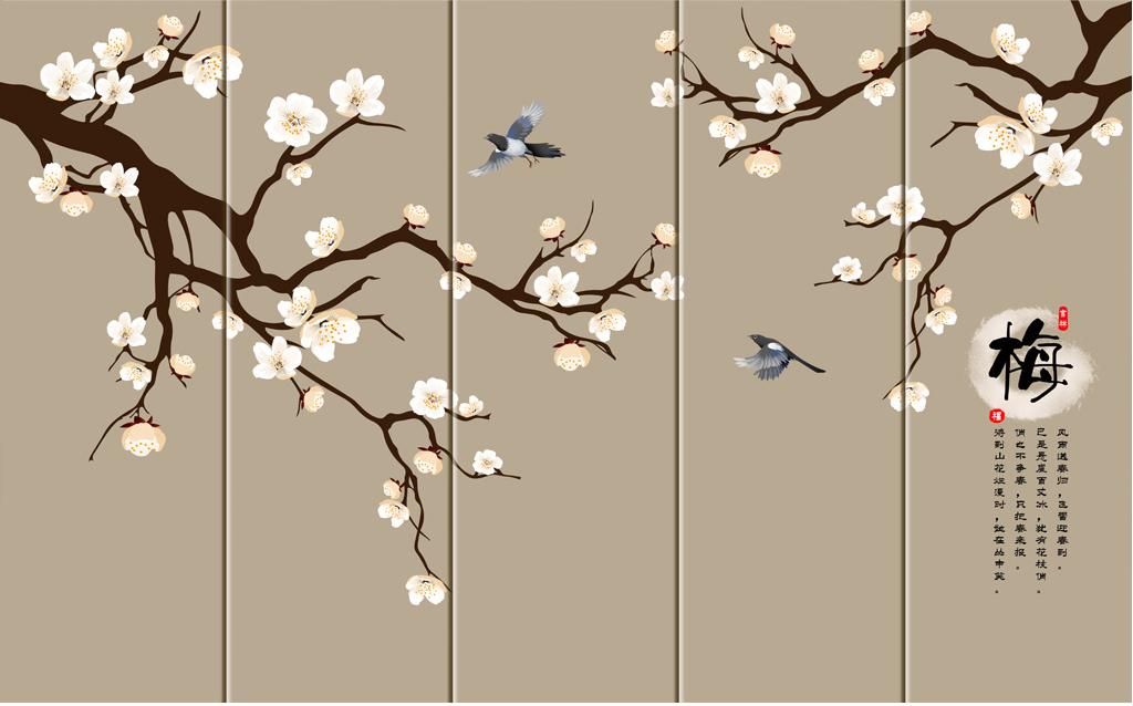 手绘花背景墙图片