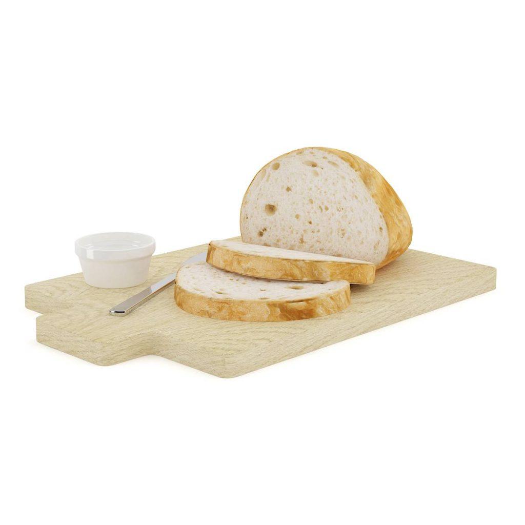砧板中的食物面包吐司C4D模型
