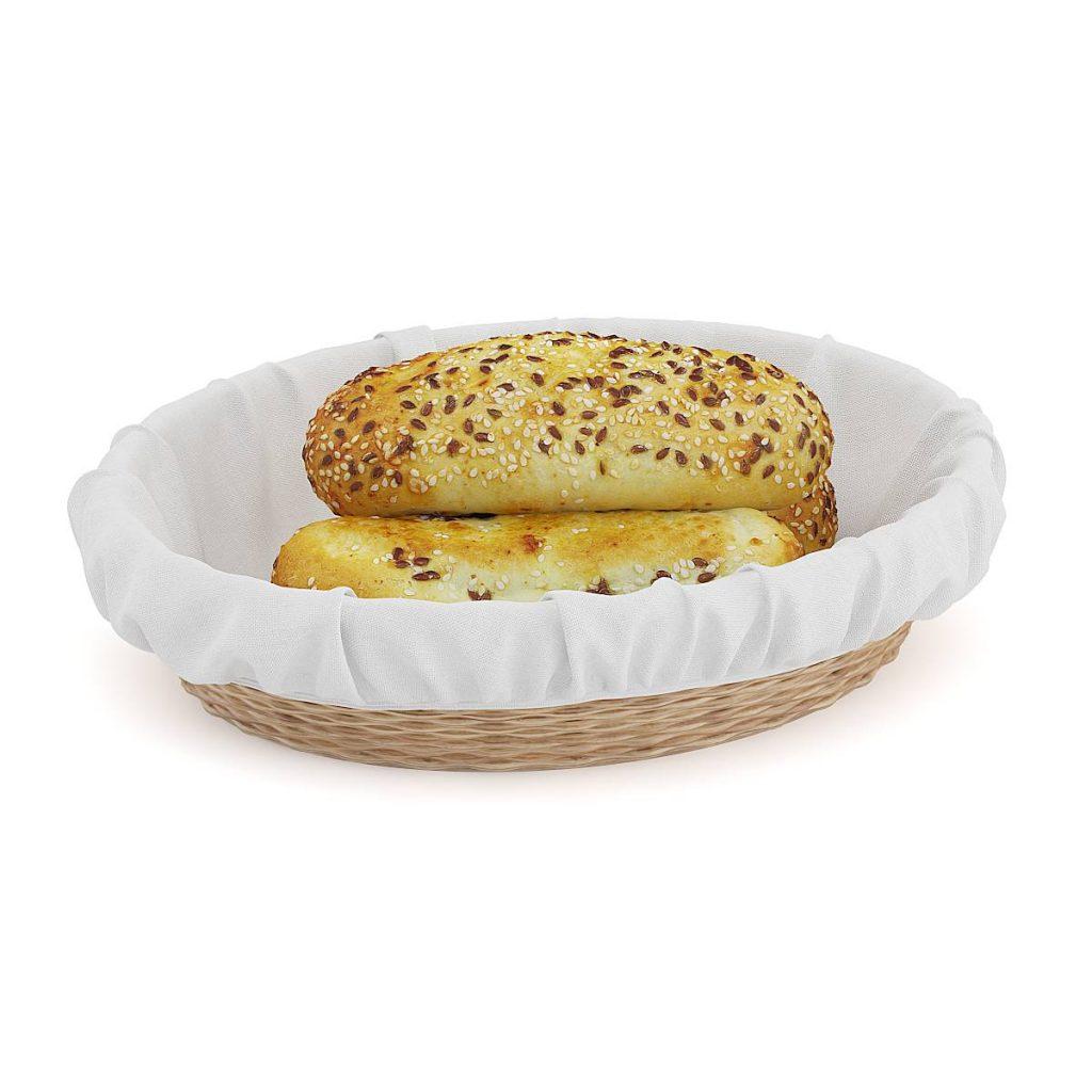 篮子里的面包西式食物面包C4D模型