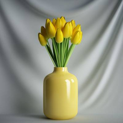 盆栽花郁金香花束植物C4D模型