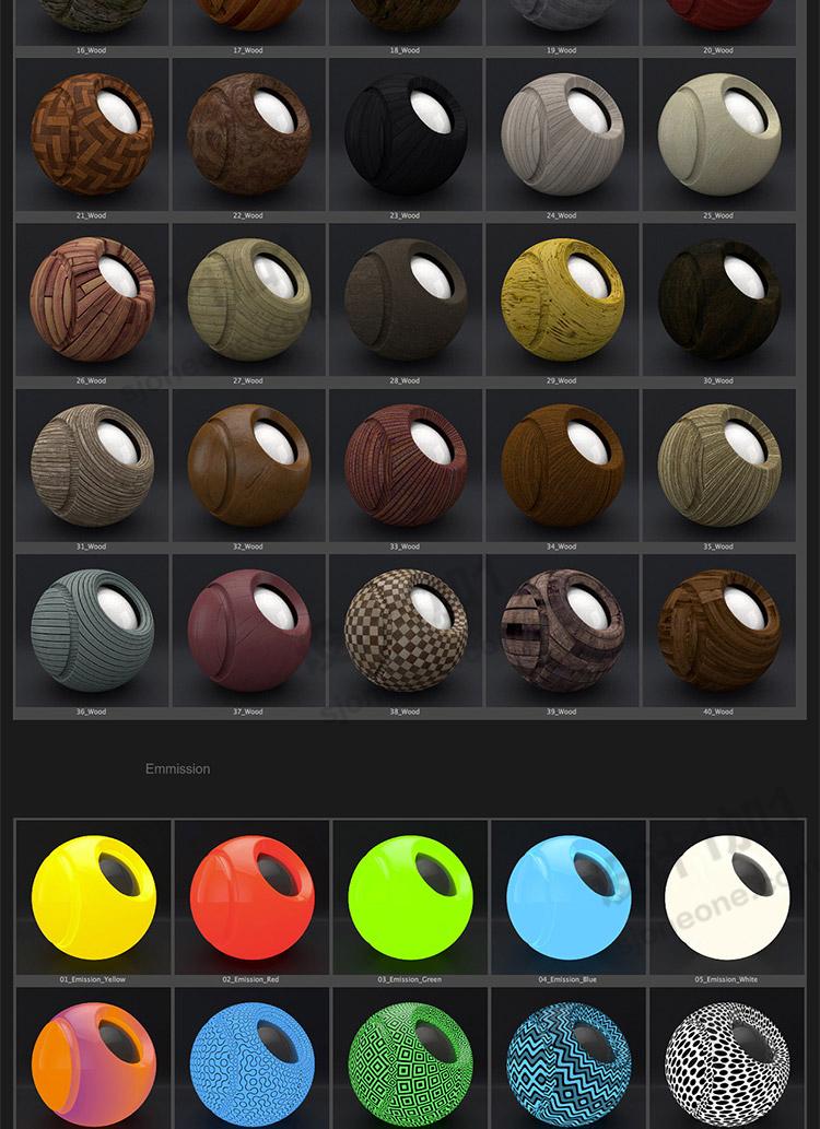Arnold阿诺德材质球木材岩石塑料玻璃布料C4D材质球预设库