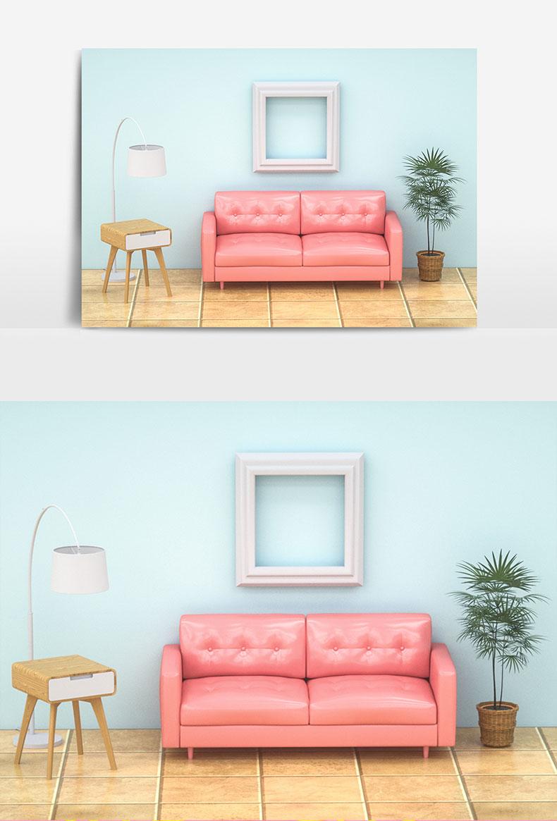 室内装修沙发家具场景搭建C4D模型