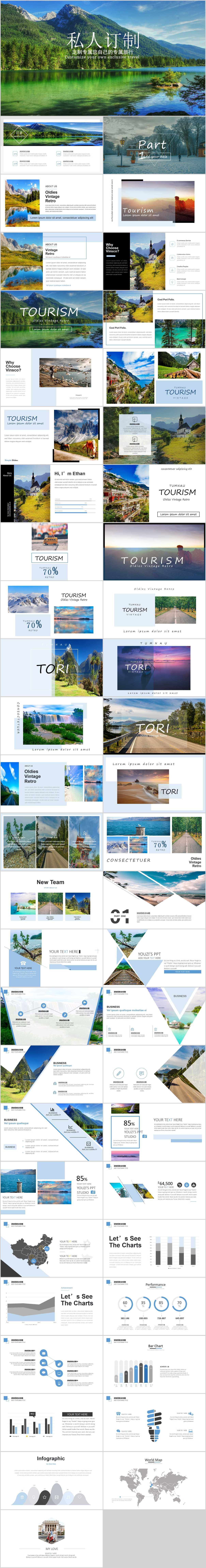 高端旅游相片展示PPT模板美景绿色坏境绿化自然湖水