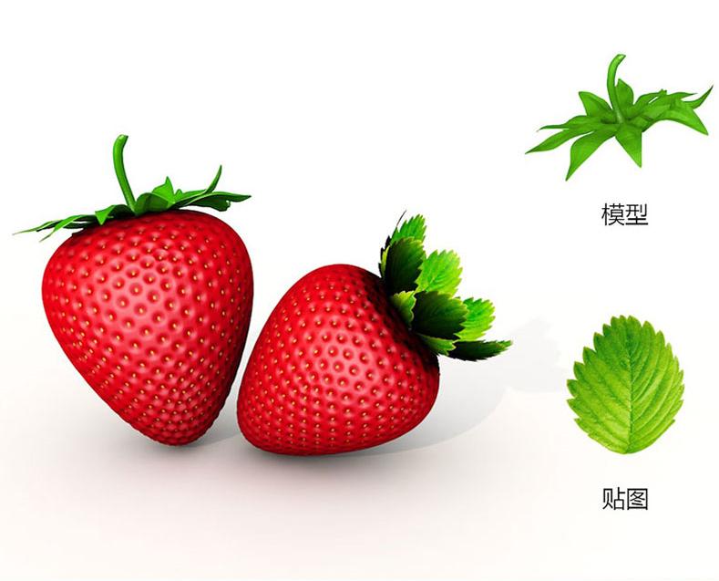 水果草莓果子材质纹理贴图3D模型C4D模型