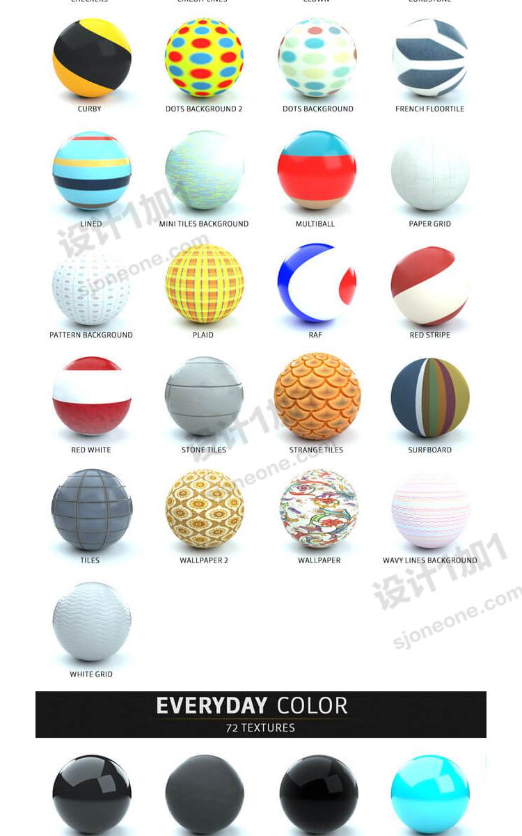 OC500多个材质球纹理贴图库c4d预设