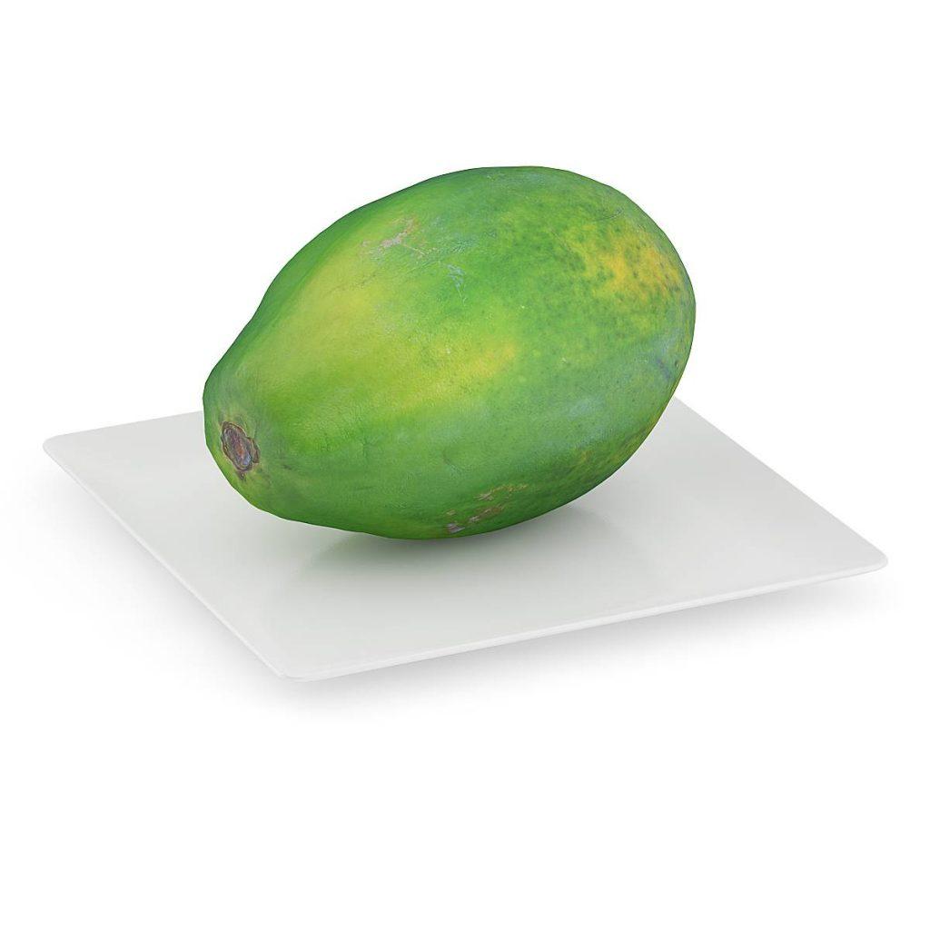 食物水果木瓜热带水果C4D模型