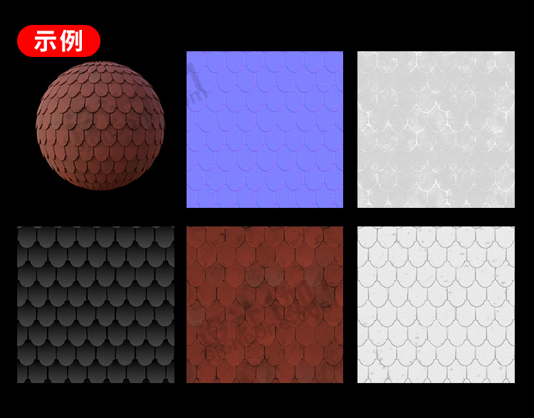 高清无缝屋顶3d贴图瓦片建筑材质纹理C4D法线凹凸素材