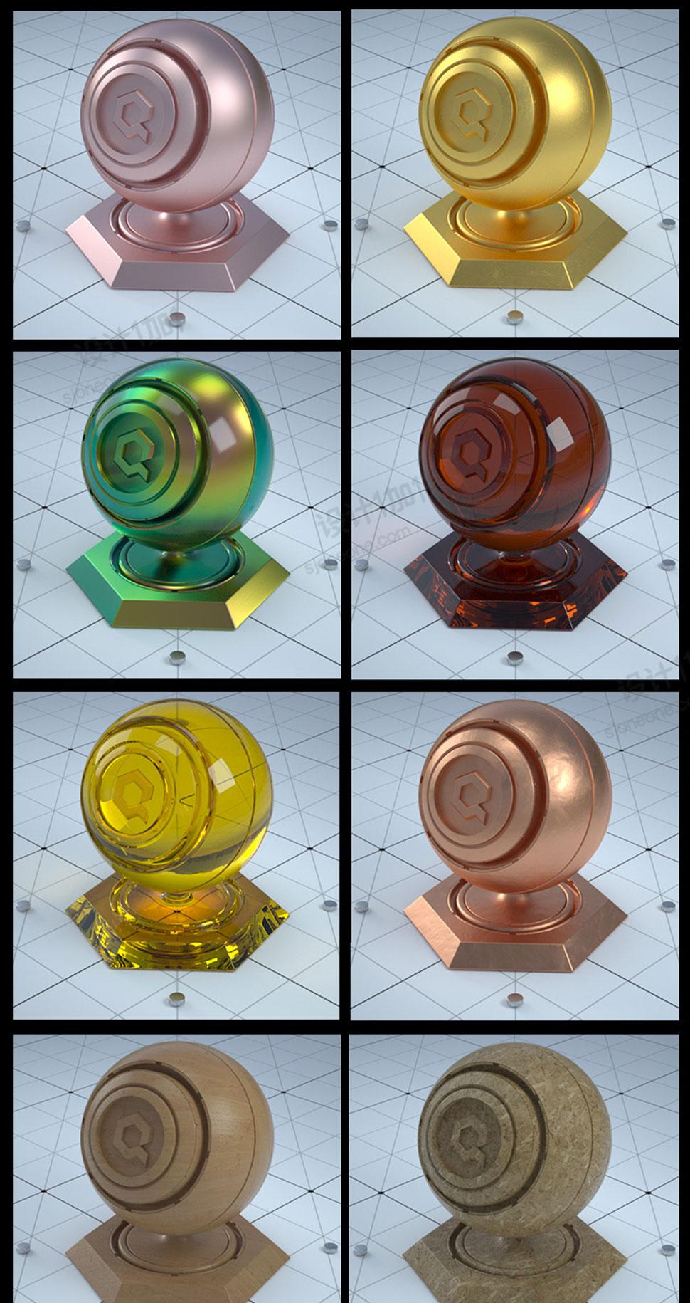 30多个C4D高品质Octane材质玫瑰金铁锈地面木地板材质球