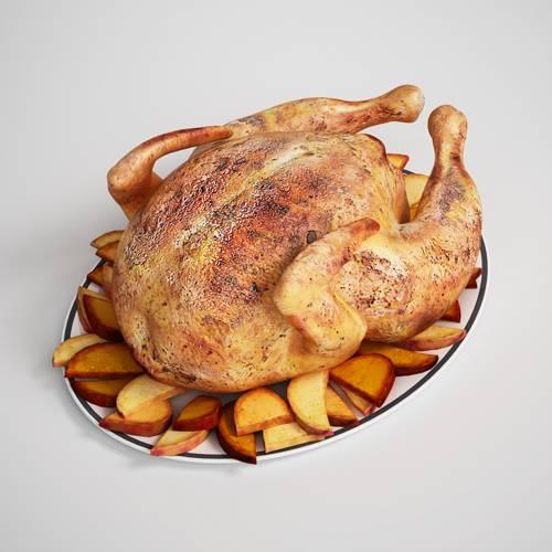 食物烤鸡C4D模型