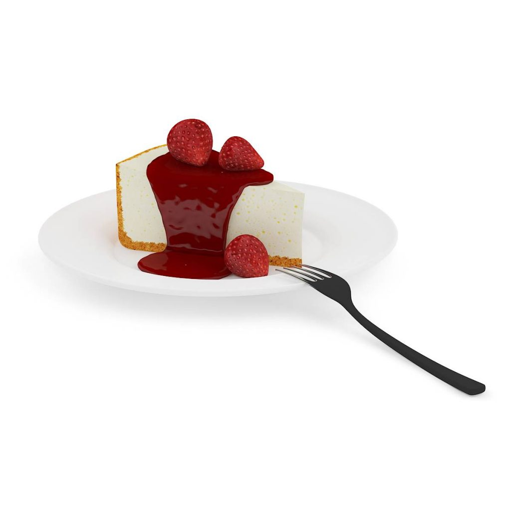 盘子中的草莓酱食物草莓蛋糕叉子C4D模型