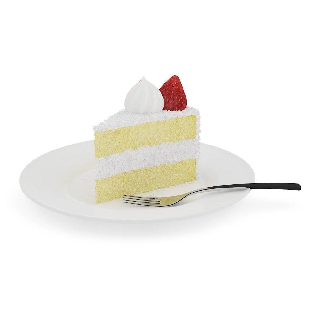 盘子中的食物蛋糕草莓叉子C4D模型