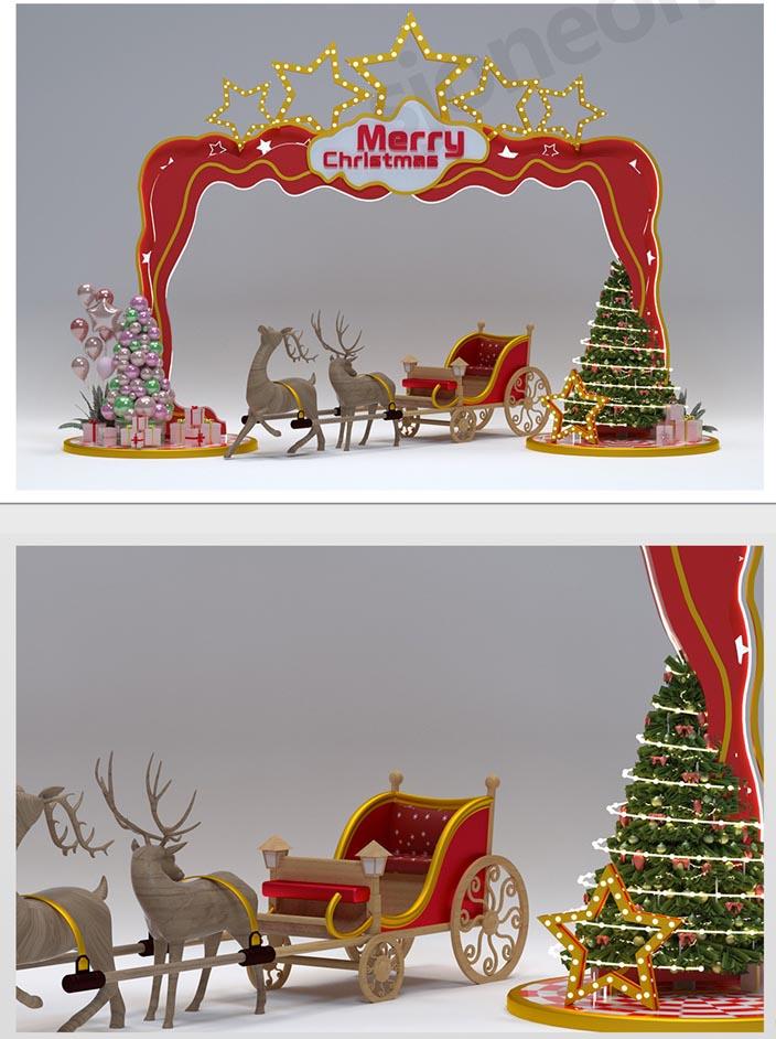 商场圣诞节美陈DP点c4d模型