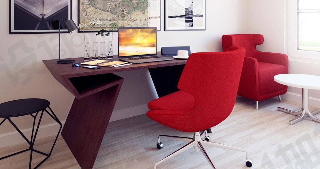 c4d实木红椅桌面书房室内装修场景