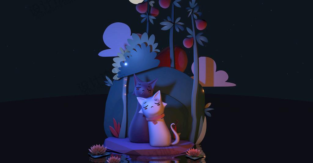 C4D卡通猫场景伤心电商模型