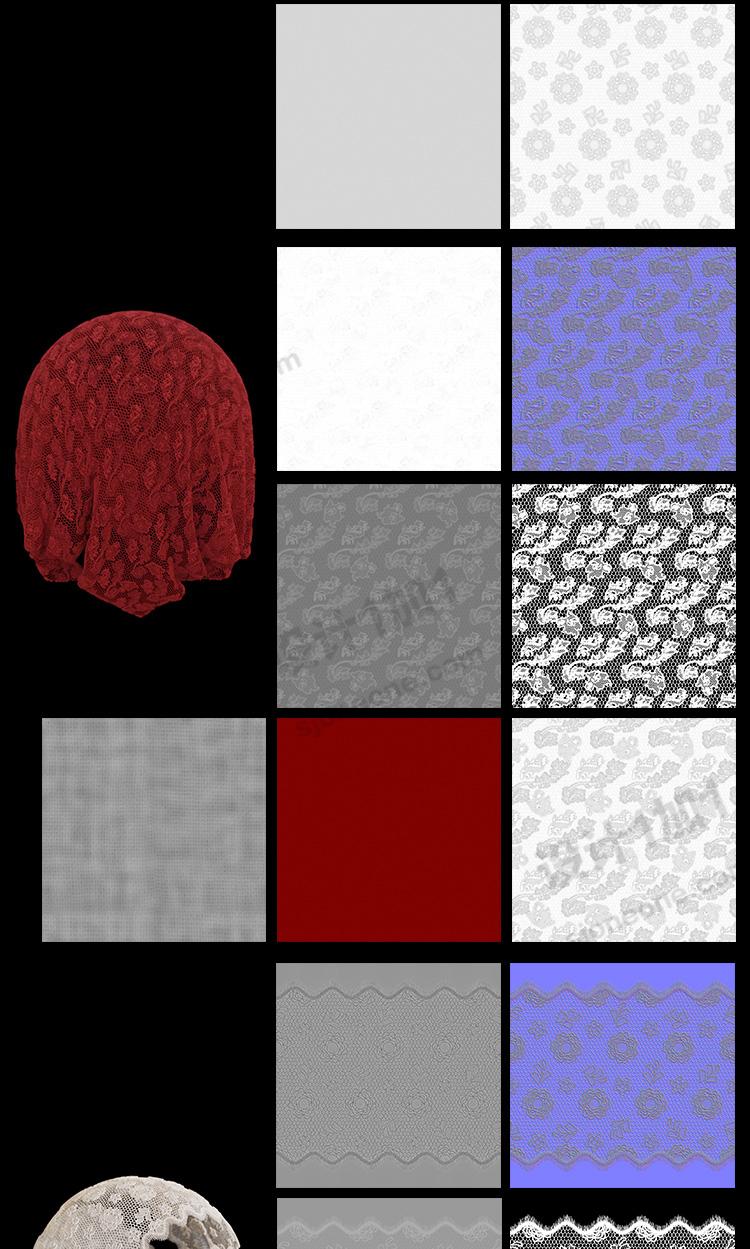 3d蕾丝花边布料贴图无缝纹理C4D法线置换凹凸模型贴图素材