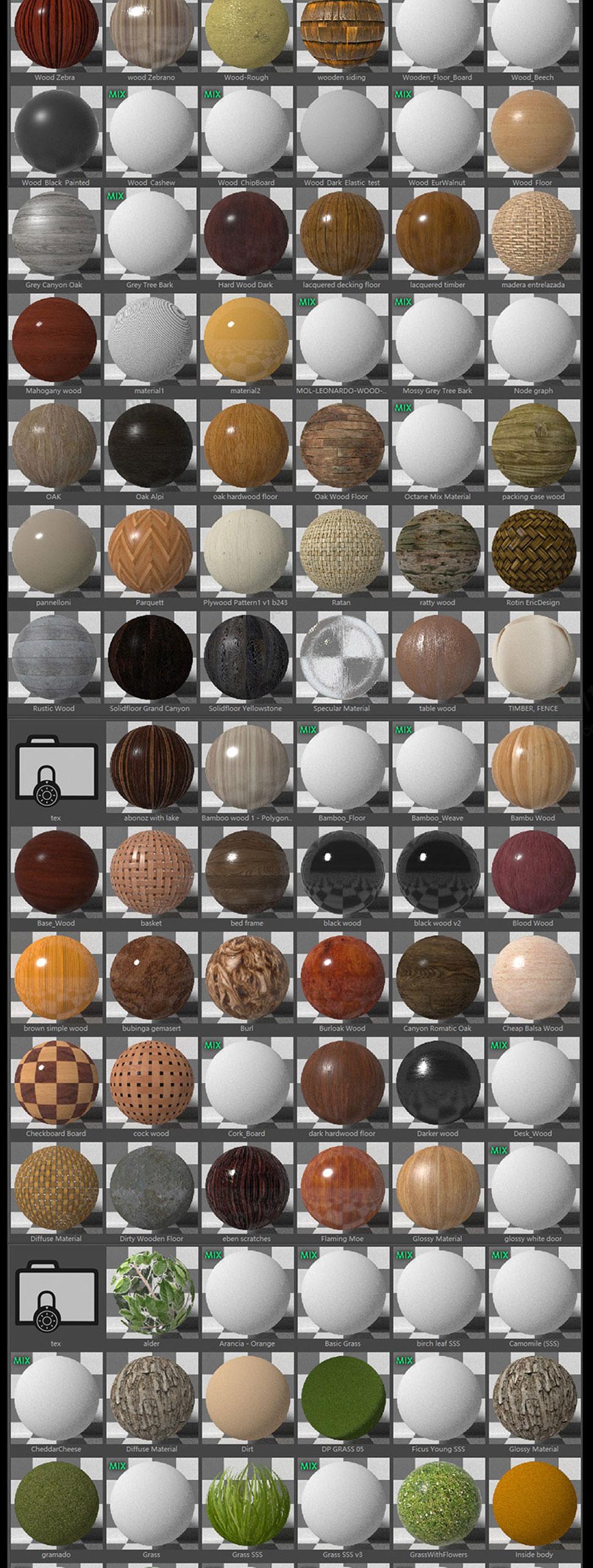 OC材质球贴图预设金属木材玻璃纹理材质包素材