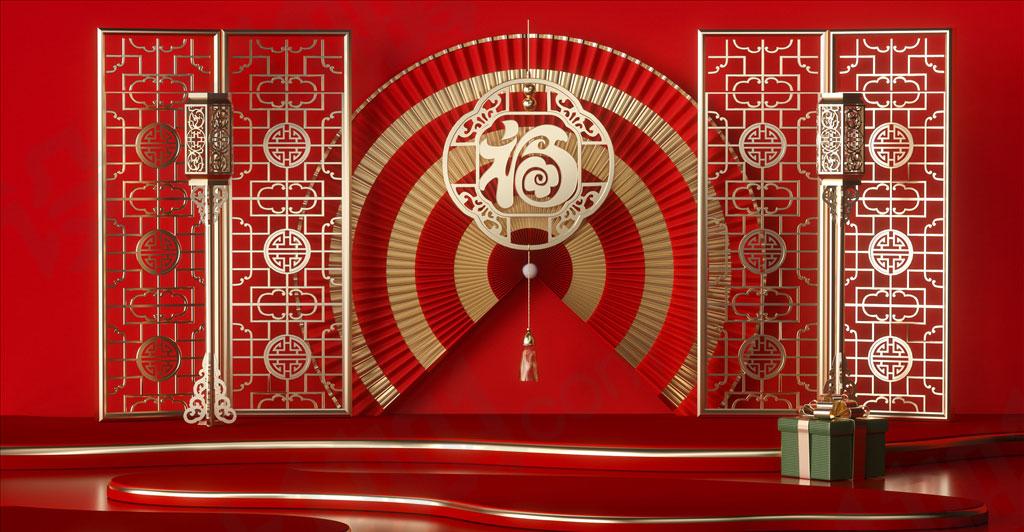 C4D中国风婚礼现场红色