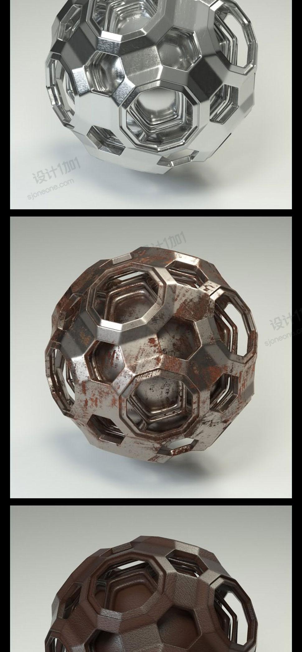 20多个高品质Oc材质包 C4D渲染金属皮革塑料铁锈材质