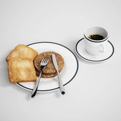 盘子中的饼干咖啡叉子C4D模型