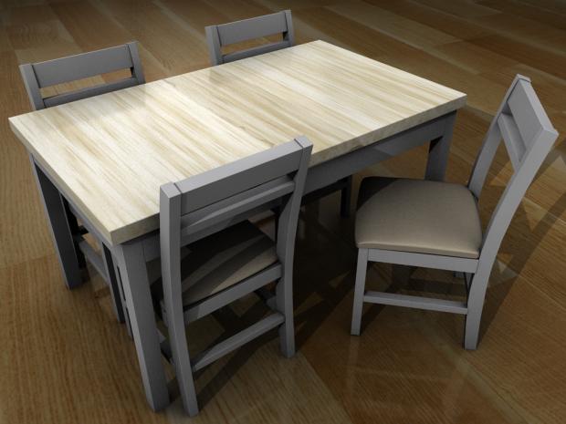 4张椅子 2色餐具 3D模型