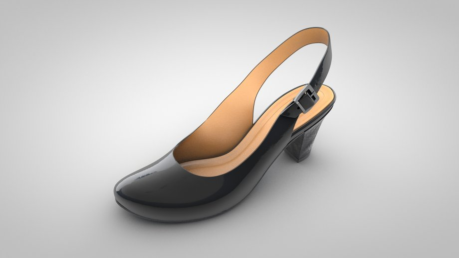 黑鞋黑高跟鞋女士鞋子3D模型