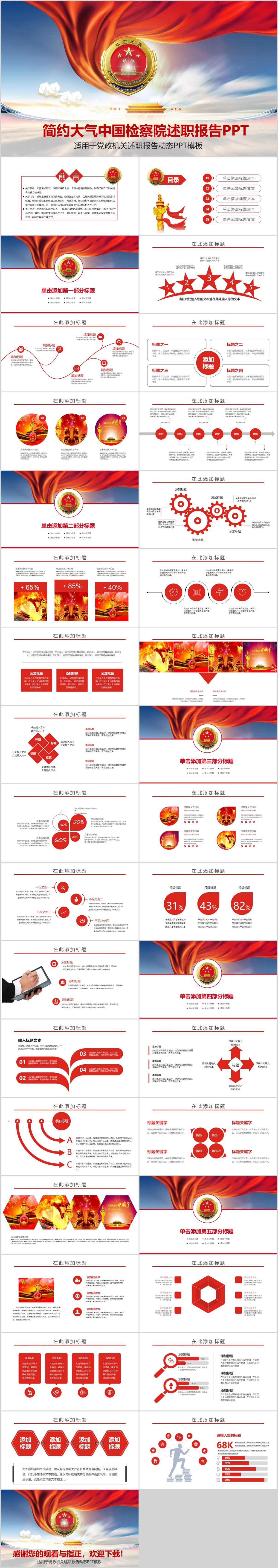 中国检察院述职PPT模板