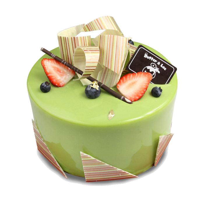 绿色水果抹茶蛋糕元素