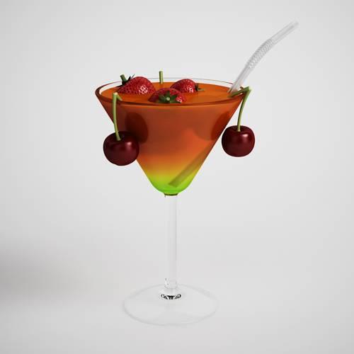 高脚杯饮料饮品樱桃草莓C4D模型