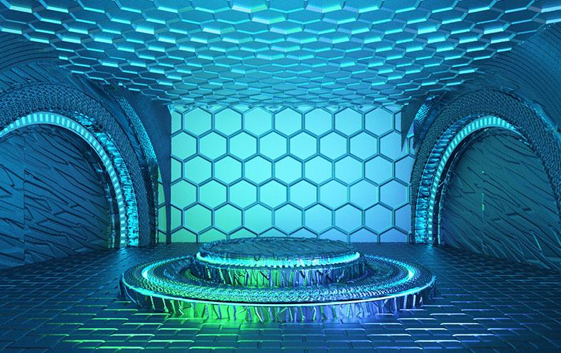 立体舞台场景炫酷空间高端大气科技场景背景电商C4D工程源文件模型