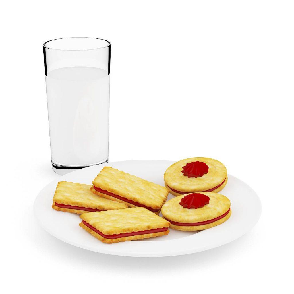食物蛋糕夹心饼干牛奶杯子C4D模型