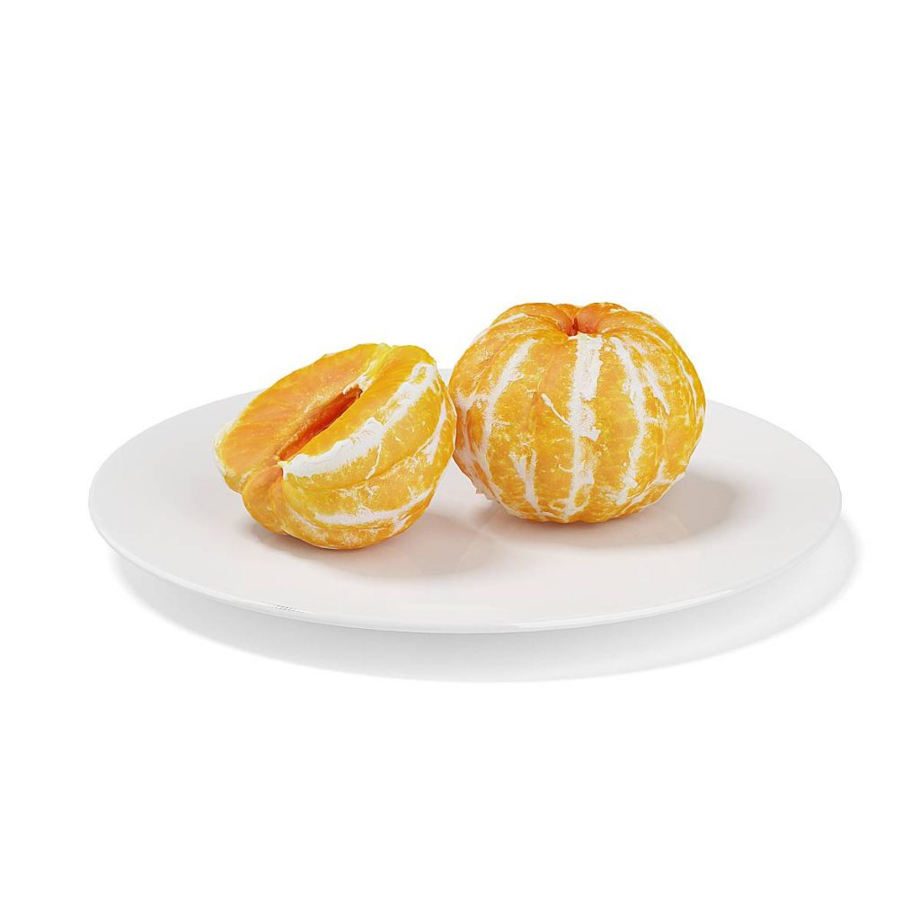 盘子中的水果桔子橘子C4D模型