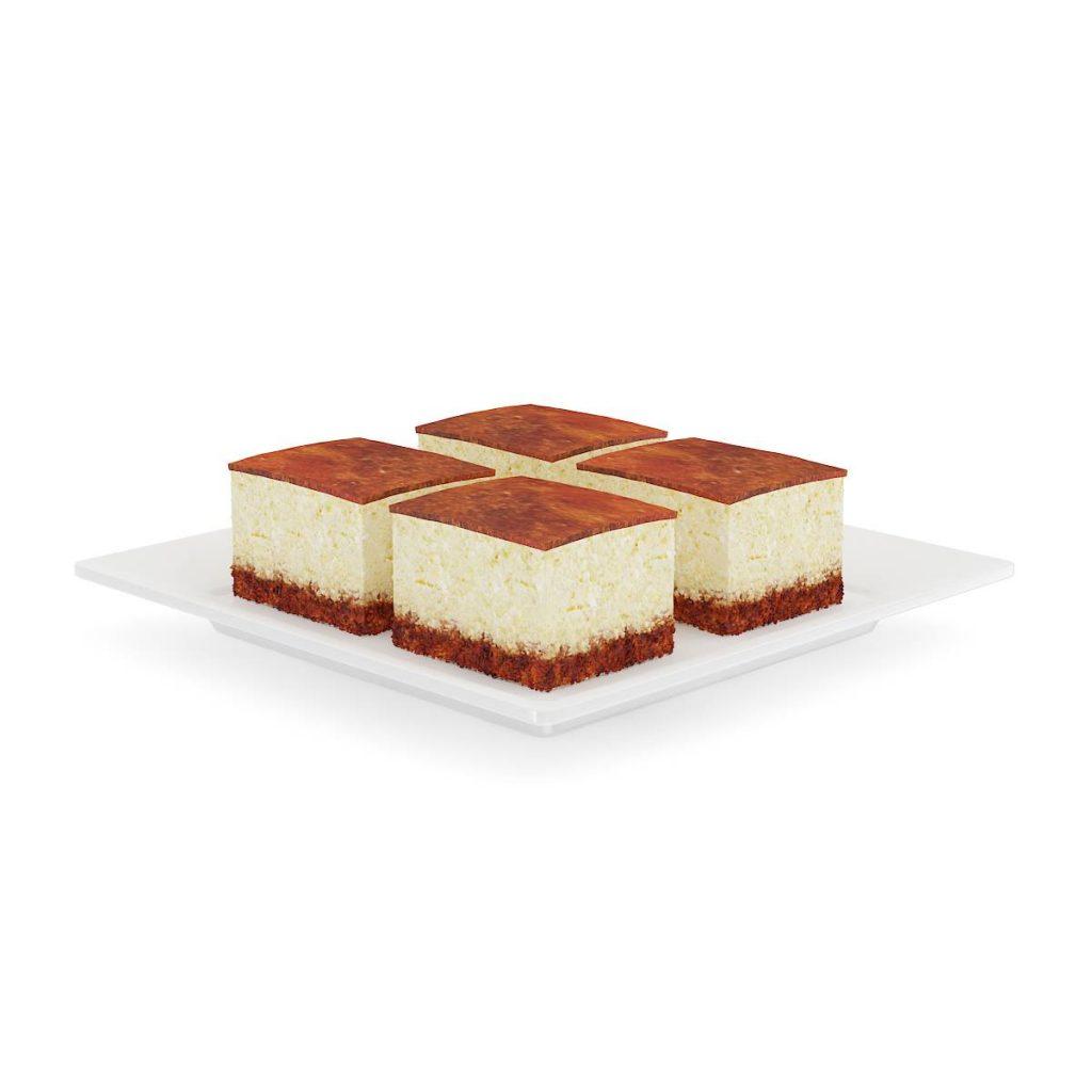 盘子中的巧克力方块蛋糕食物蛋糕C4D模型