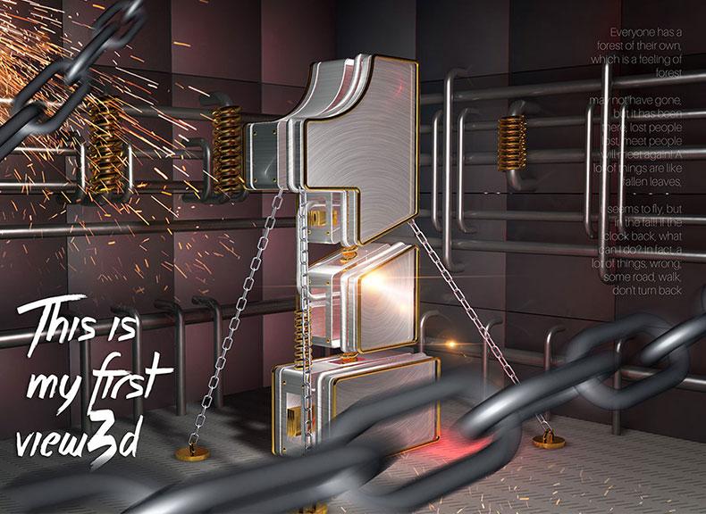 数字1艺术数字1文字设计C4D模型