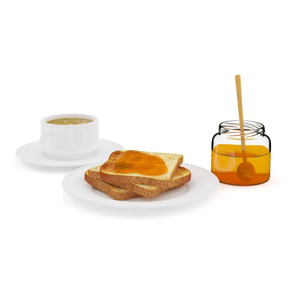 食物蛋糕吐司蜂蜜C4D模型