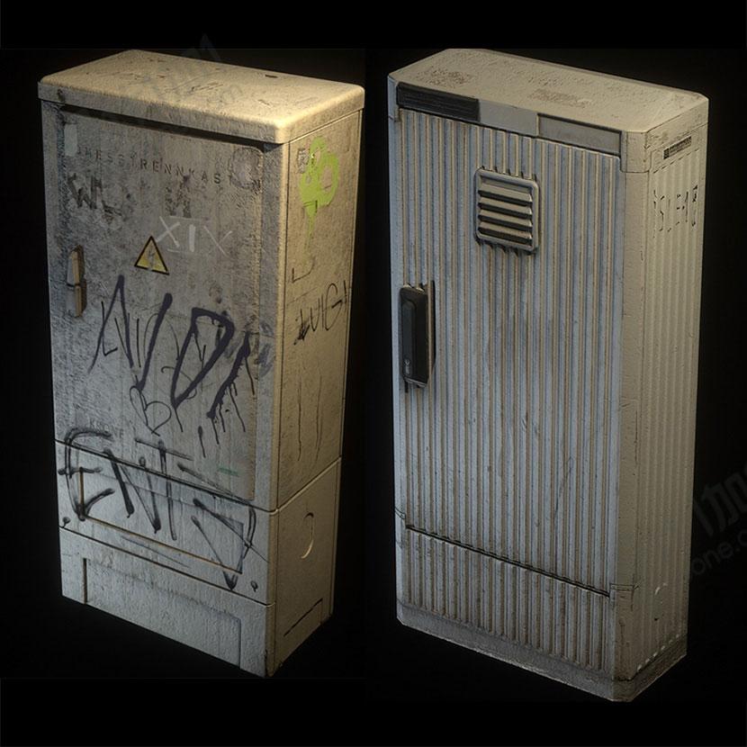 室外杂乱电表箱C4D模型创意场景