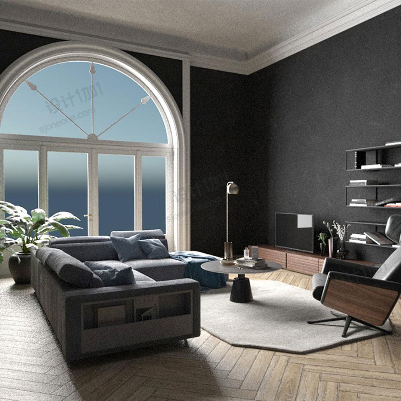 C4D室内模型渲染现代简欧美式客厅创意场景