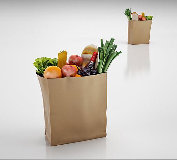 袋装水果蔬菜C4D模型苹果面包大葱创意场景