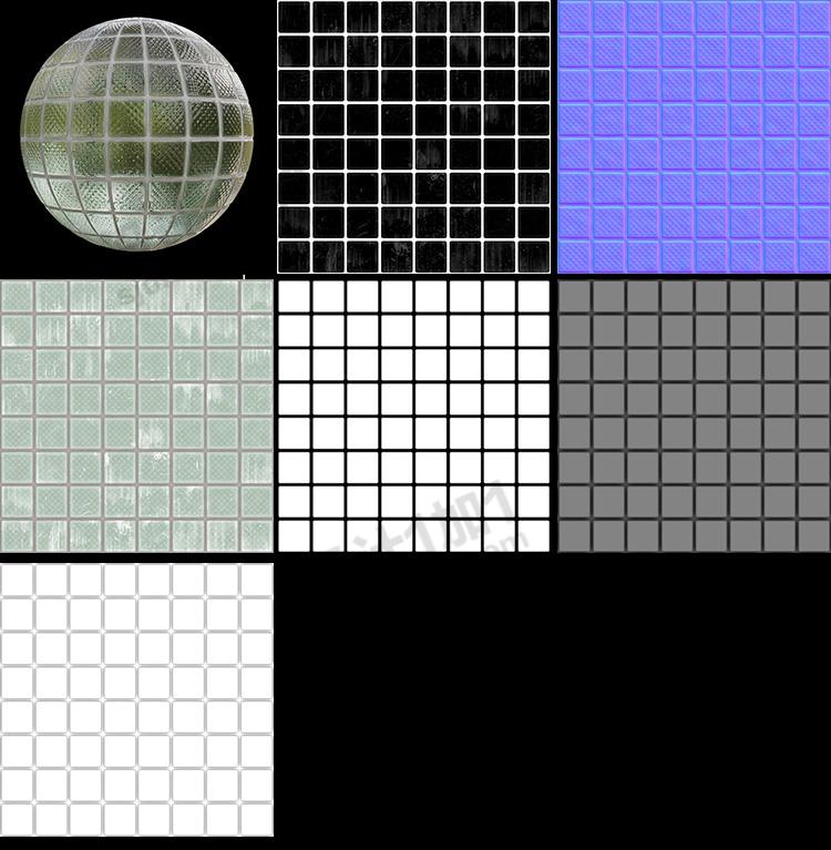 C4D玻璃材质纹理贴图法线置换凹凸粗糙jpg素材