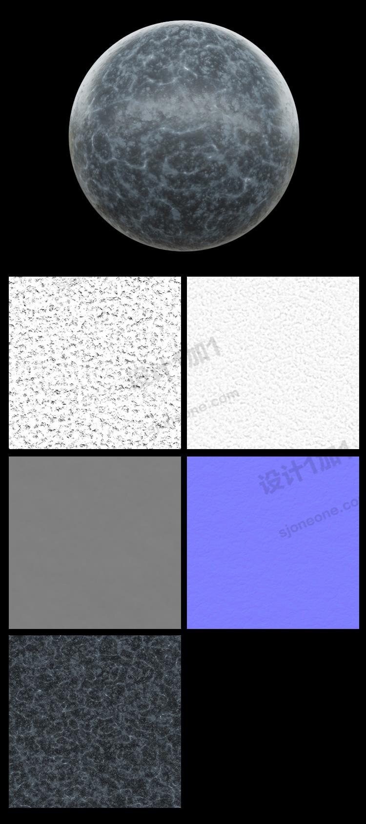 3D瓷砖地板花纹花岗岩材质通道模型贴图法线置换凹凸素材图