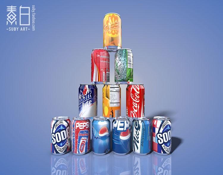 12款百事可口可乐公司易拉罐饮料产品模型 C4D模型